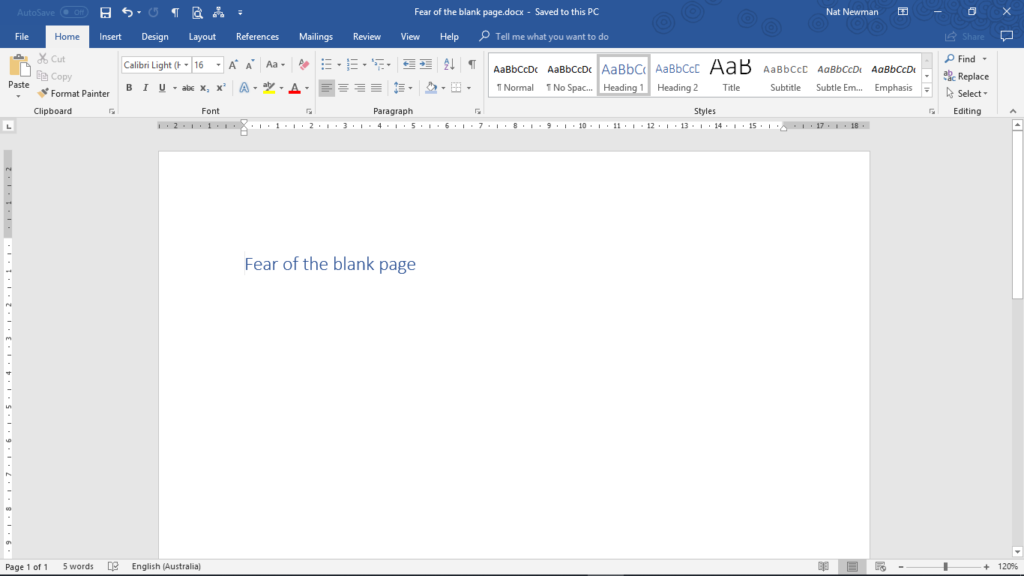 overcoming fear of the blank page - start by writing your headline
